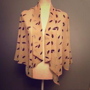 Forever 21 Feather Print Sheer Kimono Top